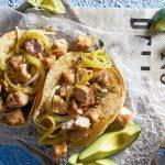 tacos de carnitas de atún con rajas de chiles güeros
