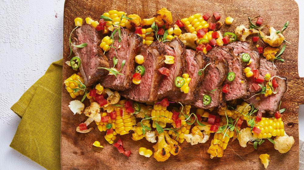 Receta de filete de flanco con coliflor y elote