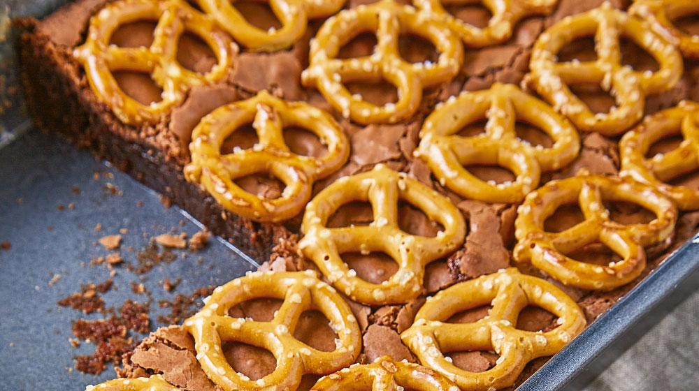 Pretzel receta con brownie