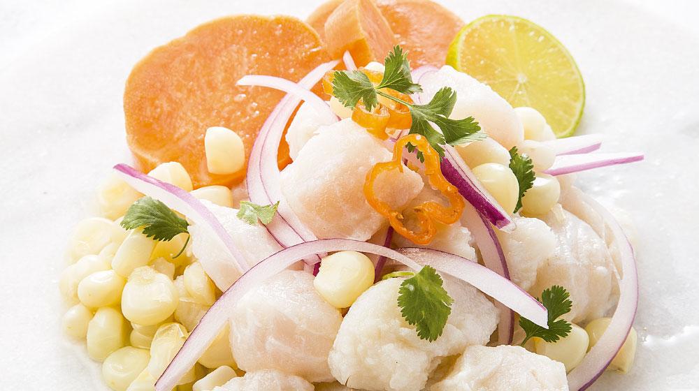Ceviche de pescado receta con camote y jengibre