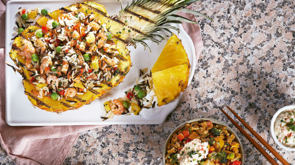 Piña receta rellena de arroz salvaje