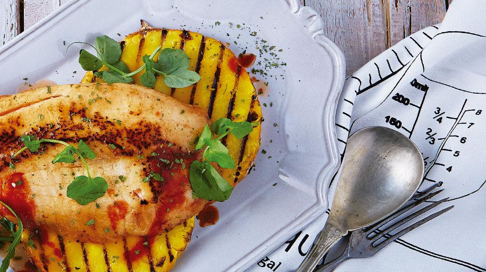 Receta de piña grillada con filete de pescado