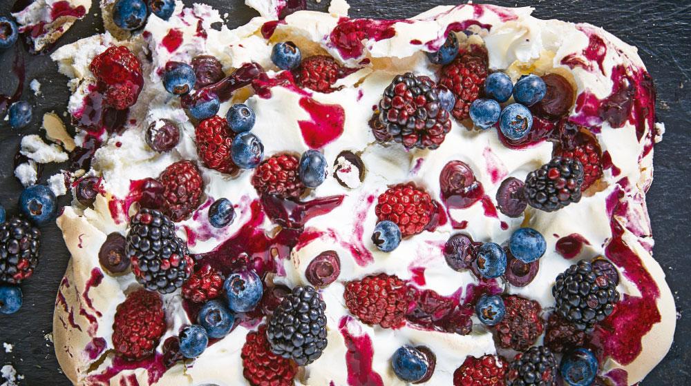 Pavlova receta de blueberry