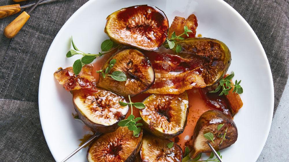 Receta de higos en dulce glaseados con maple, nuez y tocino