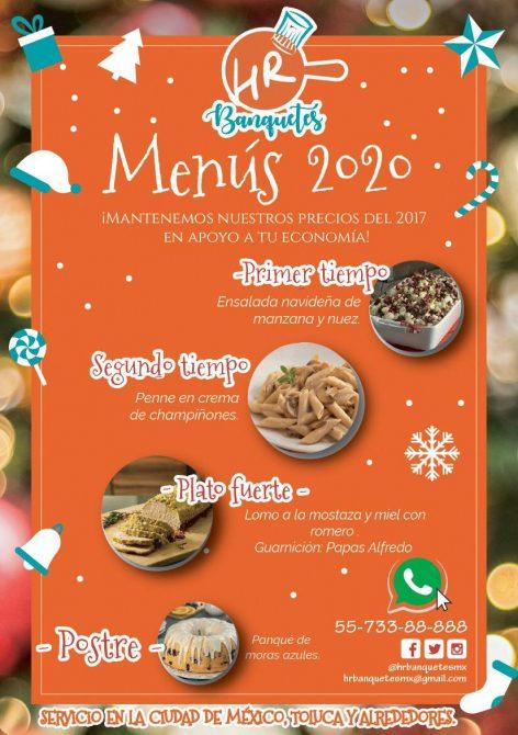 cenas a domicilio para llevar navidad año nuevo cdmx 2020 hr banquetes menu