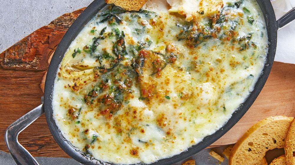 Dip de queso, alcachofa y espinaca