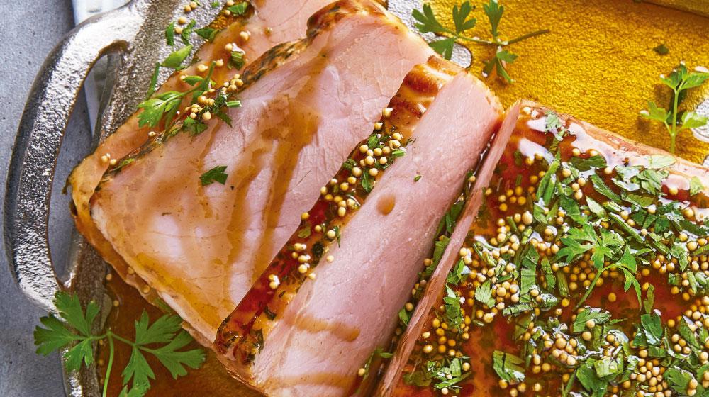 Jamon glaseado con salsa de miel