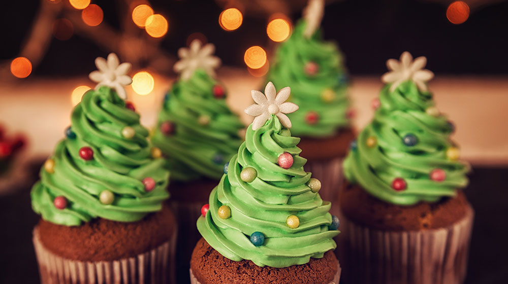Muffins de pinitos navideños