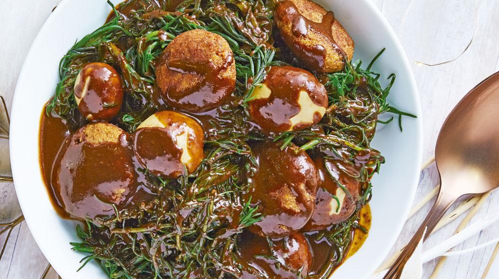Romeritos receta con tortitas de camarón