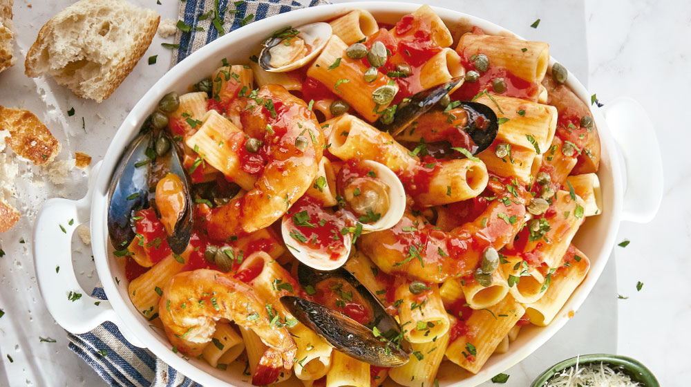pasta marinara con camarones