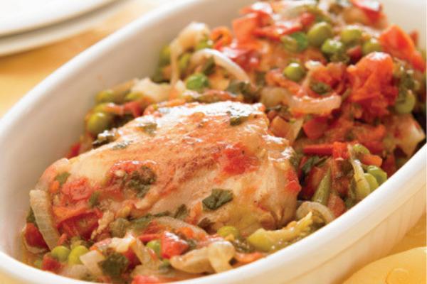Recetas con pollo, recetas de pollo: Muslos de pollo a la jardinera