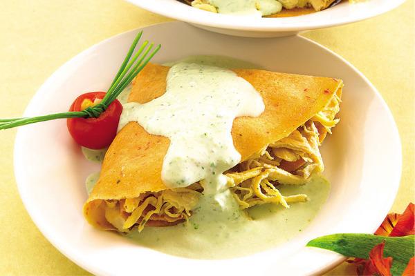 Recetas con pollo, recetas de pollo: Abanicos de pollo con salsa de cilantro