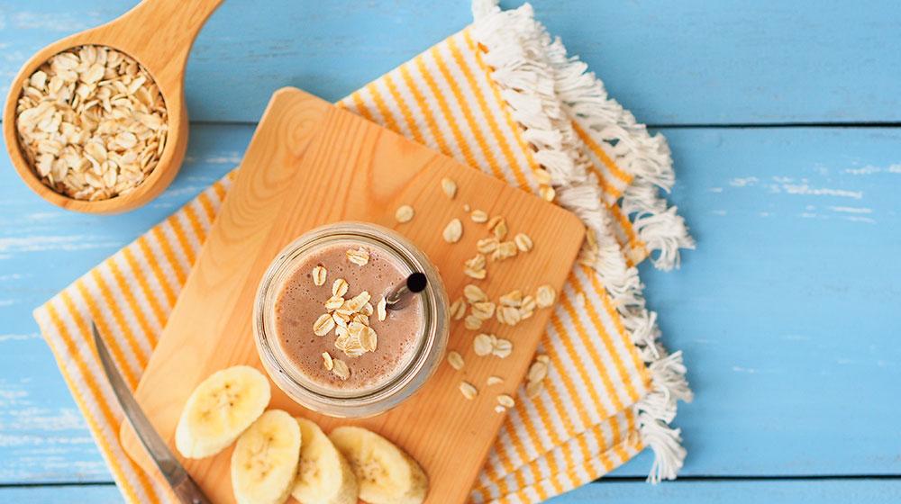 Licuado de avena con cocoa y avellana