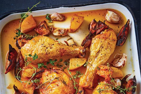 Recetas con pollo, recetas de pollo: Muslos y piernas de pollo marinados con cerveza, tomillo y miel