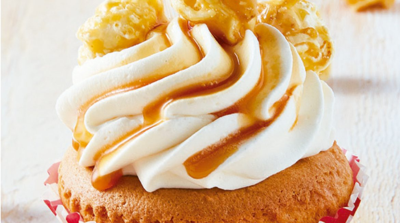 Cupcake de palomitas de caramelo y dulce de leche