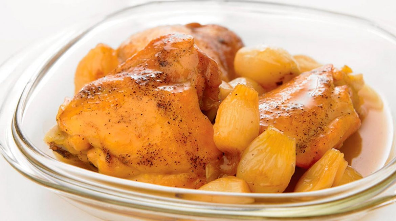 Pollo con miel y cebollitas