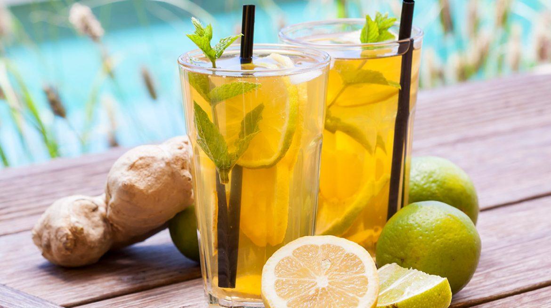 cómo hacer té helado de jengibre con limón