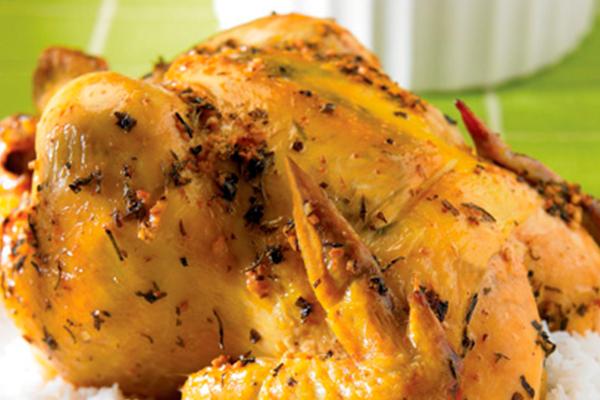 Recetas de pollo, recetas con pollo: pollo entero al ajo