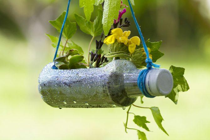 botellas de plástico para hacer macetas